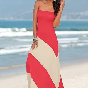Venus Pink and Creme Color Block Maxi Dress